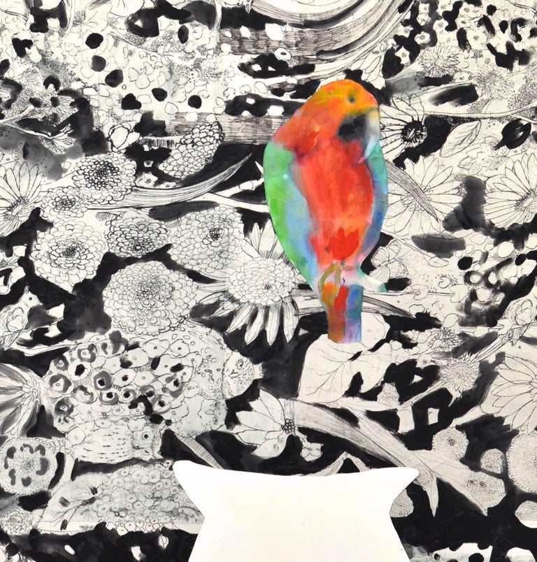 Loro with a  White Vasea - Painting by Fumiko Toda