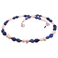 Fun and Funky Lapis Lazuli and White Freshwater Pearl Choker Necklace/Bracelet