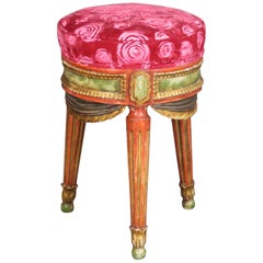 Fun Carved Drapery Swag French Painted Poof Stool Ladies Vanity Stool circa 1950