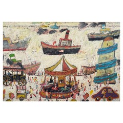 Fun Fair on the Harbour Wall, Contemporary Figurative Oil Painting