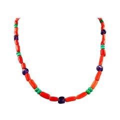 Fun Necklace of the Coral, Turquoise, and Amethyst