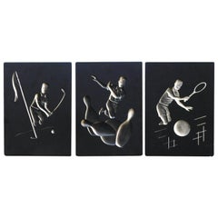 Fun Set of 3 Hans Richter 1961 Artcraft Plaster Negative Relief Sports Plaques