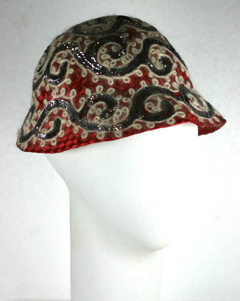 Women's Fun Straw Hat with Sequins and Angora. Sally Victor For Sale