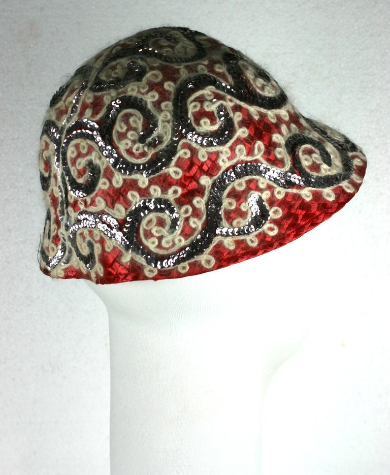 Fun Straw Hat with Sequins and Angora. Sally Victor For Sale 2
