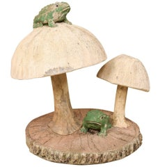 Fun Tall Mushrooms and Frogs Garden Sculpture on Faux Bois Slab Base