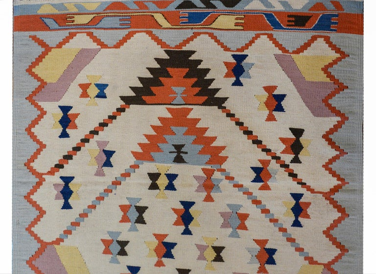 Fun Vintage Indian Dhurrie Kilim Rug In Good Condition For Sale In Chicago, IL