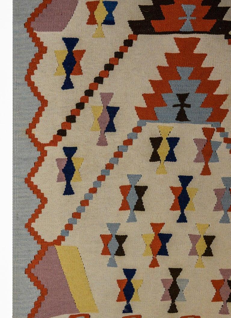 Wool Fun Vintage Indian Dhurrie Kilim Rug For Sale