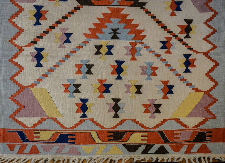 Fun Vintage Indian Dhurrie Kilim Rug For Sale 1