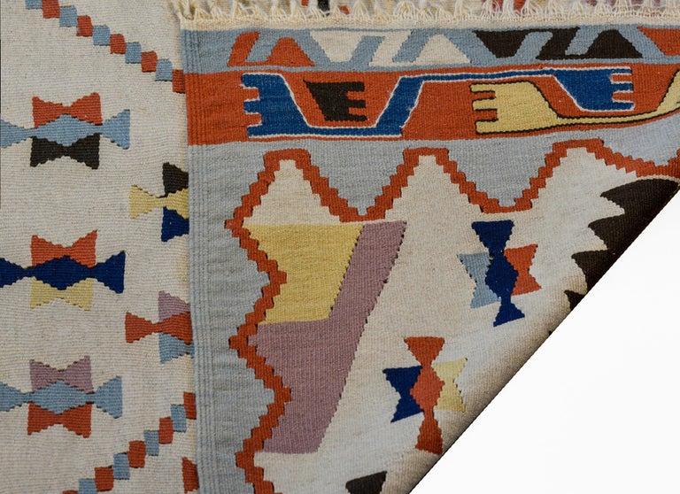 Fun Vintage Indian Dhurrie Kilim Rug For Sale 2