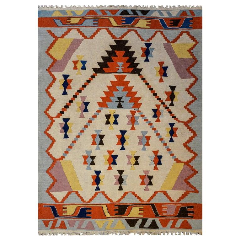 Fun Vintage Indian Dhurrie Kilim Rug For Sale