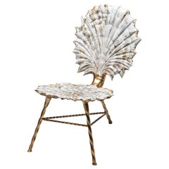 'Meant for Pearls' Ceramic, Steel and Metal Leaf Shell Motif Chair, Etienne Marc