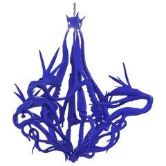'Strelitzia' Electric Blue Chandelier, Etienne Marc, France, 2020