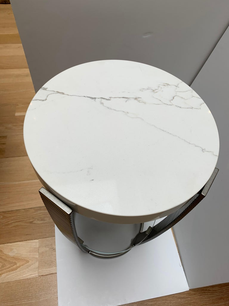 American Functional Art Deco Iron Side Table, Polished White Marble Top, Glass Shelf For Sale