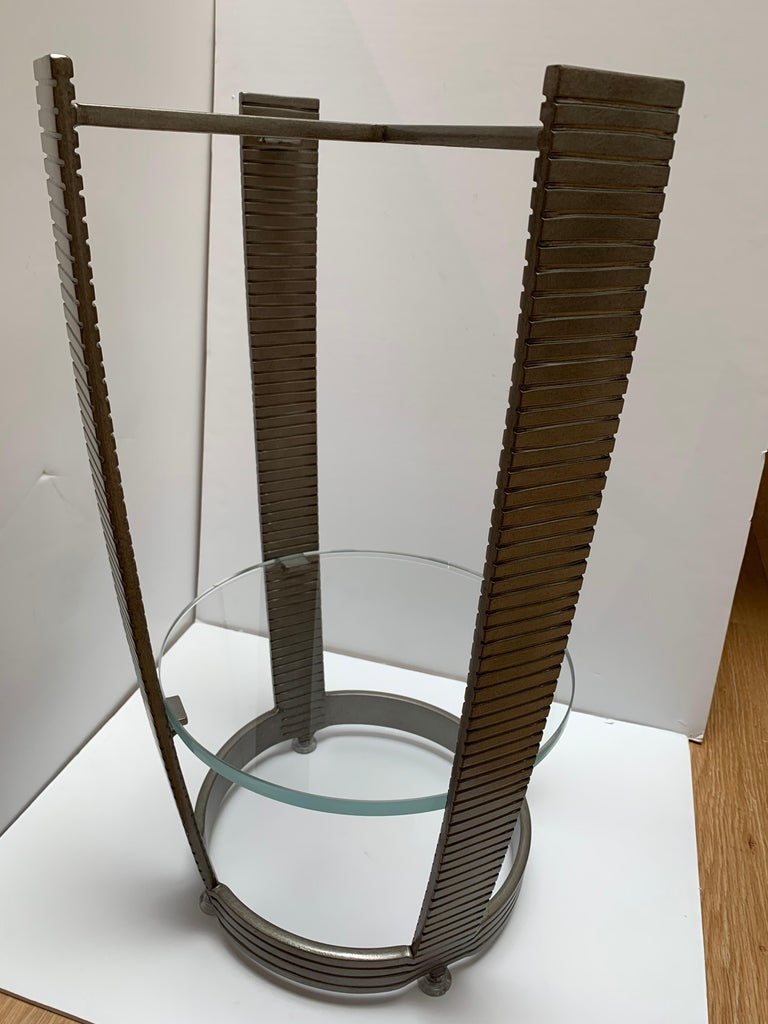 Functional Art Deco Iron Side Table, Polished White Marble Top, Glass Shelf In Excellent Condition For Sale In Los Angeles, CA