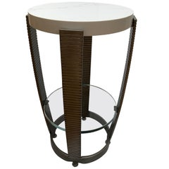 Functional Art Deco Iron Side Table, Polished White Marble Top, Glass Shelf