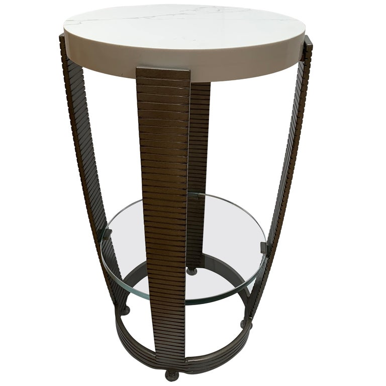 Functional Art Deco Iron Side Table, Polished White Marble Top, Glass Shelf For Sale