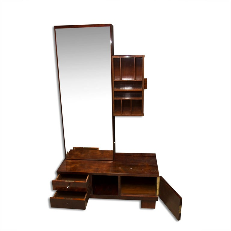 Glass Functionalist Art Deco Vanity, Dressing Table, 1930s, Bohemia For Sale