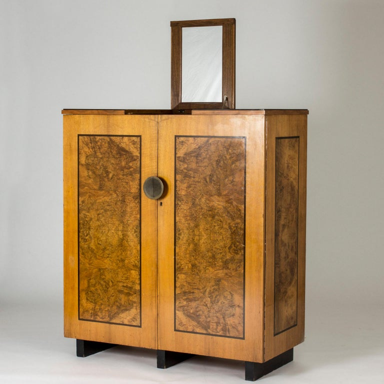 Brass Functionalist Cabinet by Erik Chambert for Chamberts Möbelfabrik, Sweden, 1930s For Sale