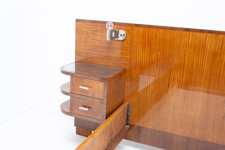 Functionalist Double Bed with Nightstands by Vlastimil Brozek, 1930s For Sale 5