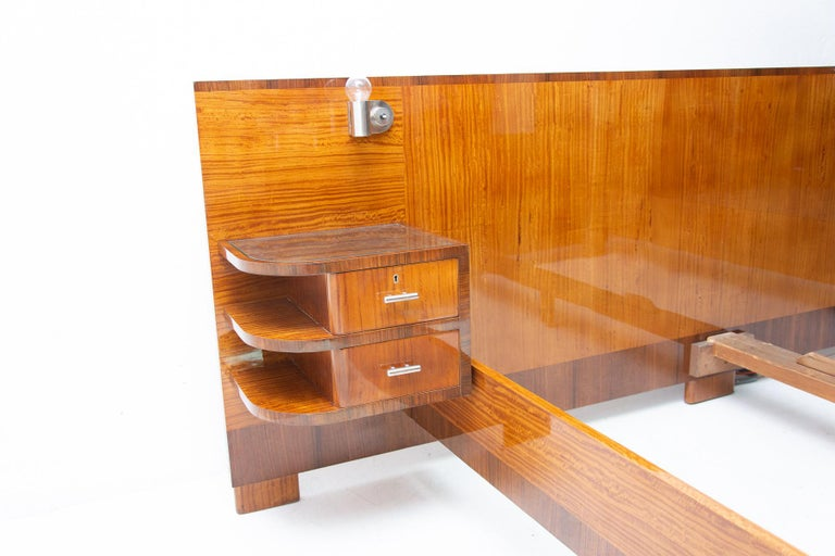 Functionalist Double Bed with Nightstands by Vlastimil Brozek, 1930s For Sale 6