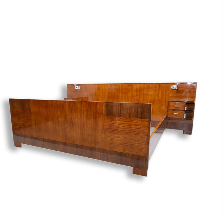 Art Deco Functionalist Double Bed with Nightstands by Vlastimil Brozek, 1930s For Sale