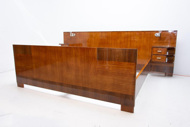 Czech Functionalist Double Bed with Nightstands by Vlastimil Brozek, 1930s For Sale