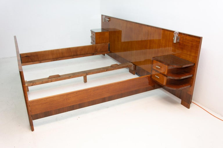Mid-20th Century Functionalist Double Bed with Nightstands by Vlastimil Brozek, 1930s For Sale
