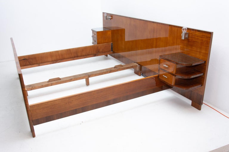 Metal Functionalist Double Bed with Nightstands by Vlastimil Brozek, 1930s For Sale