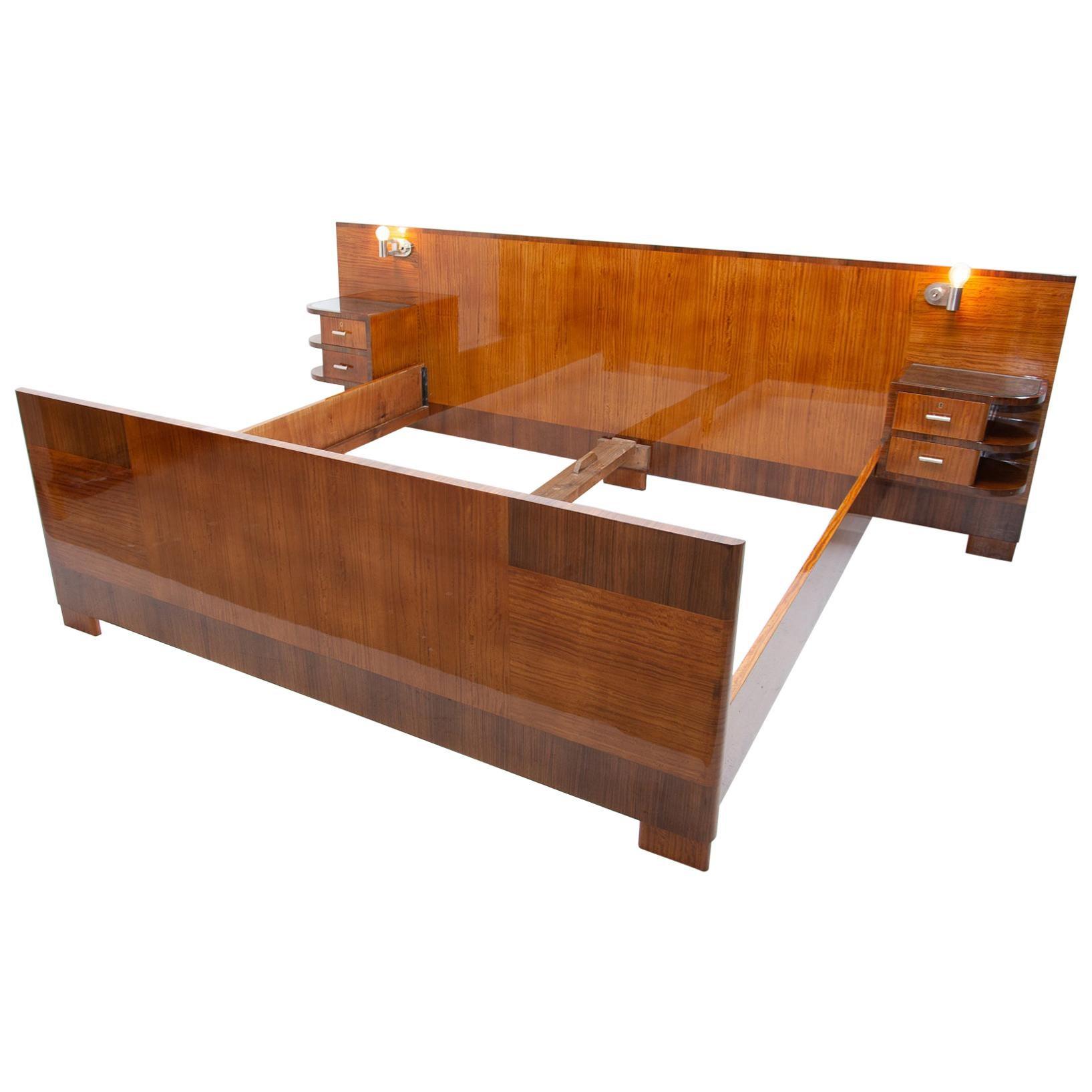 Functionalist Double Bed with Nightstands by Vlastimil Brozek, 1930s