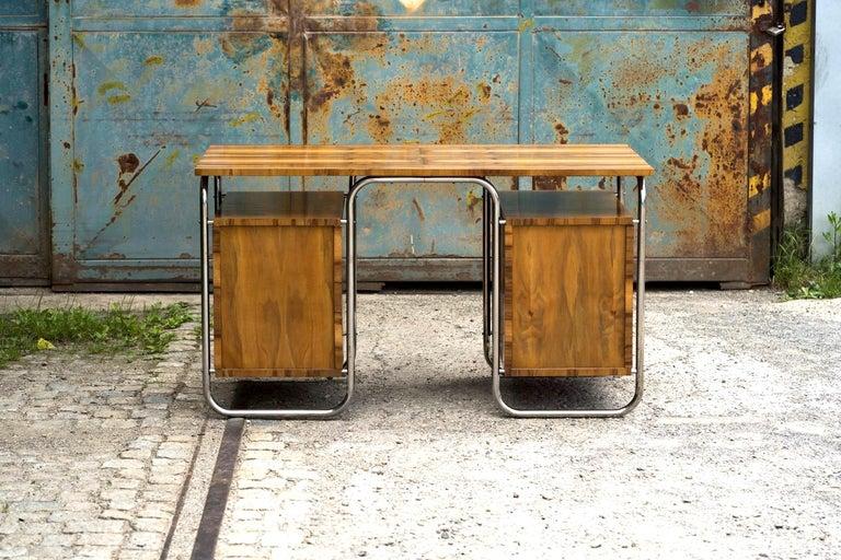Functionalist Tubular Steel Desk Walnut, 1930s For Sale 6