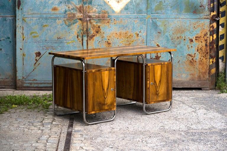 Art Deco Functionalist Tubular Steel Desk Walnut, 1930s For Sale