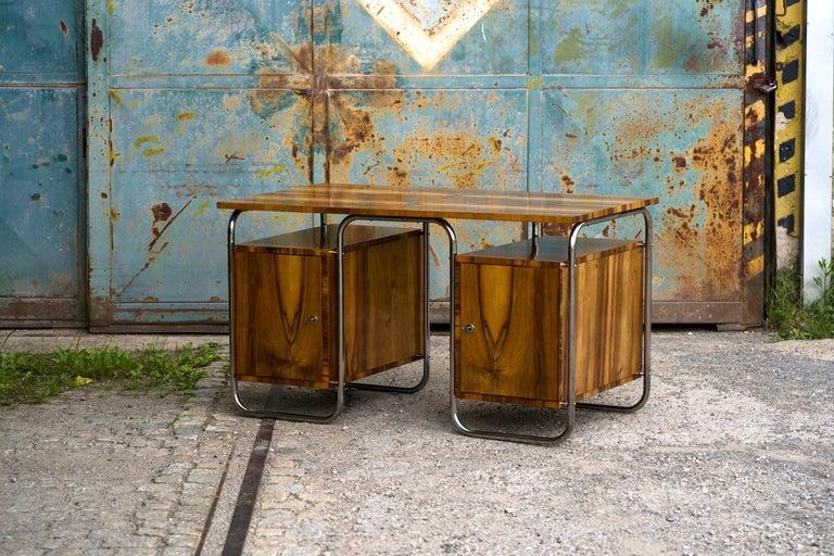 Czech Functionalist Tubular Steel Desk Walnut, 1930s For Sale
