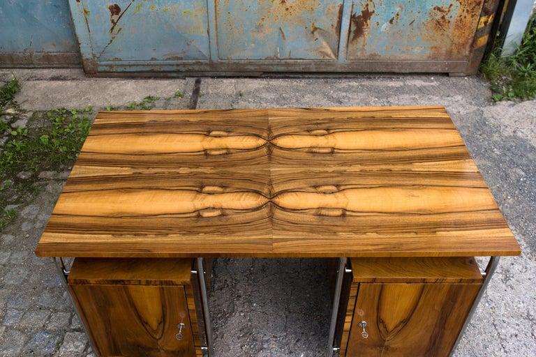 20th Century Functionalist Tubular Steel Desk Walnut, 1930s For Sale