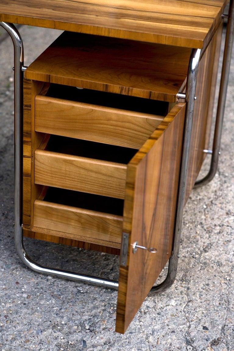 Functionalist Tubular Steel Desk Walnut, 1930s For Sale 1