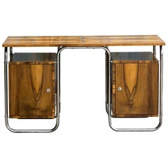 Functionalist Tubular Steel Desk Walnut, 1930s