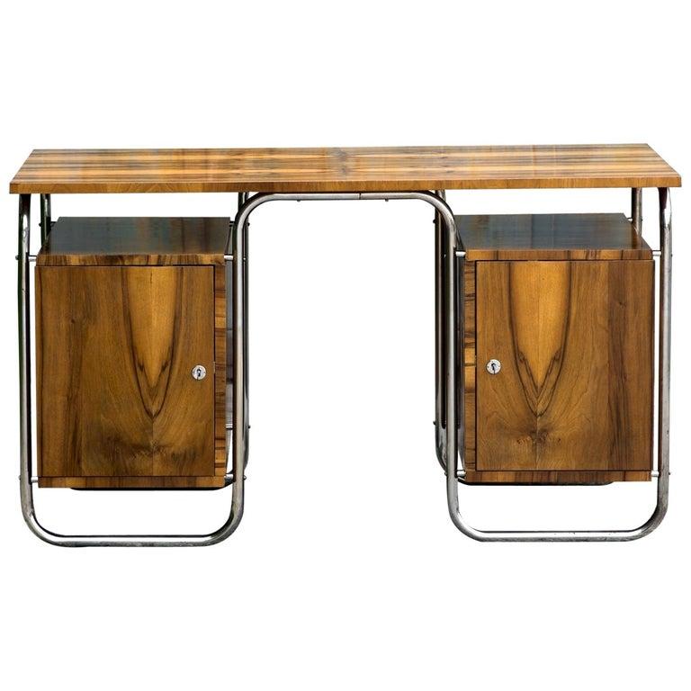 Functionalist Tubular Steel Desk Walnut, 1930s For Sale