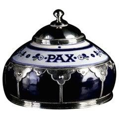 Funerary Urn, Ceramic and White Metal 'Alpaca', Handmade