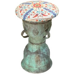 Funky Antique Suzani Bronze Stool or Side Table