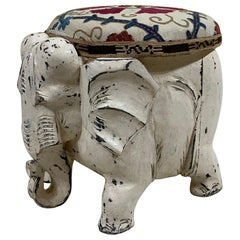 Funky Antique Suzani Elephant Wood Foot Stool