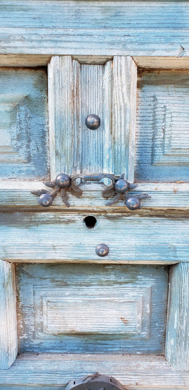 Funky Blue Moroccan Wooden Door, 23MD59 In Good Condition For Sale In Orlando, FL