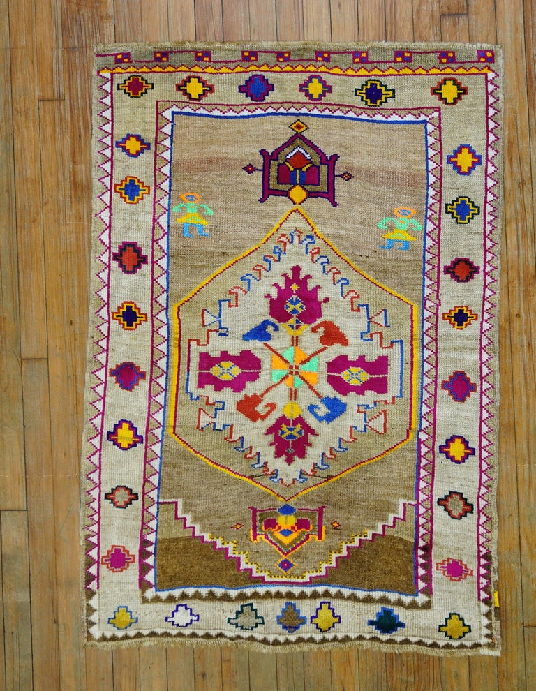 Futurist Funky Color Turkish 20th Century Wool Cotton Scatter Size Pictorial Rug For Sale