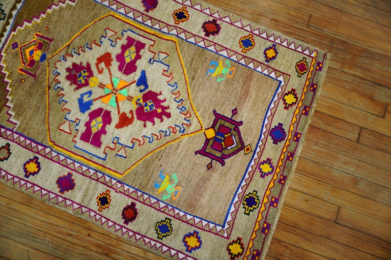 Hand-Woven Funky Color Turkish 20th Century Wool Cotton Scatter Size Pictorial Rug For Sale