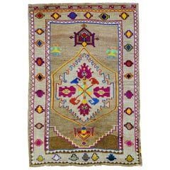 Funky Color Turkish 20th Century Wool Cotton Scatter Size Pictorial Rug