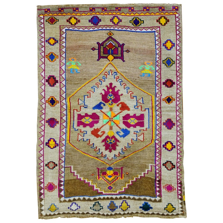 Funky Color Turkish 20th Century Wool Cotton Scatter Size Pictorial Rug For Sale