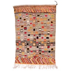 Funky & Colorful Vintage Moroccan Rug, Linen & Gray Field, Yellow & Red Accents