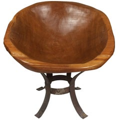 Funky Mid-Century Modern Carved Wood Barrel Chair