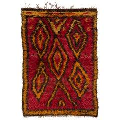 Funky One-of-a-Kind Vintage Tulu Rug, Made of Red, Orange, Brown Wool