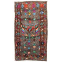 Funky Turkish 20th Century Cotton Wool Mat Size Rug