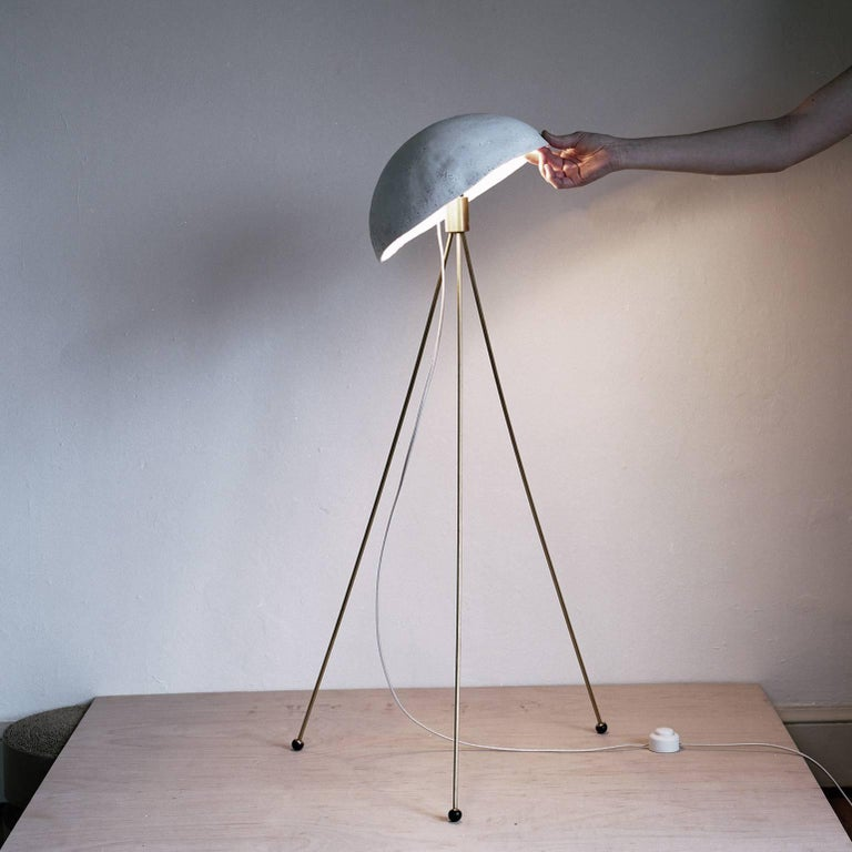 Funny Buddy Floor Lamp with Concrete Noggin and Brass Tripod Legs 4