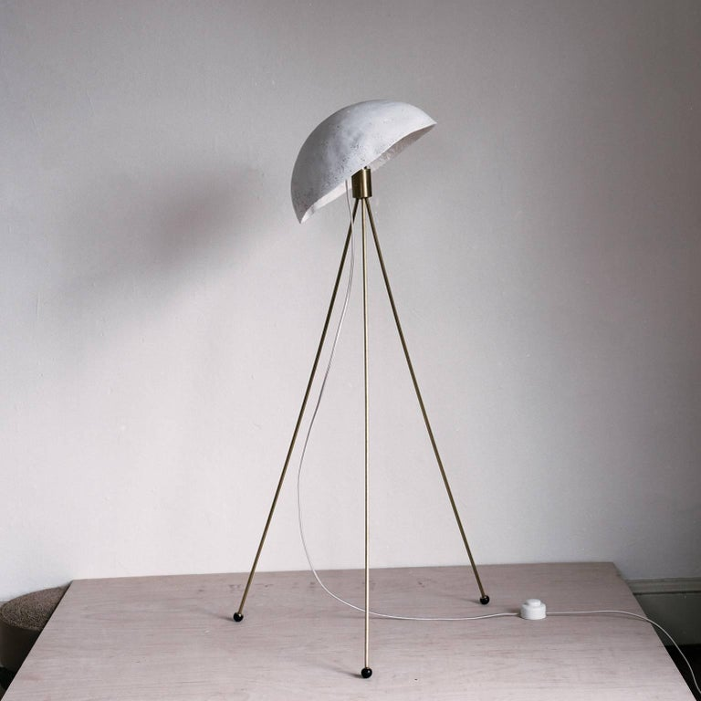 Funny Buddy Floor Lamp With Concrete Noggin And Brass